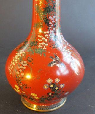 Fine Signed Red Meiji - Era Japanese Cloisonne Vase W/ Wisteria C.  1890 Antique photo