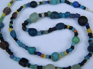 Ancient Glass Beads Strand Roman 200 Bc Be2132 photo