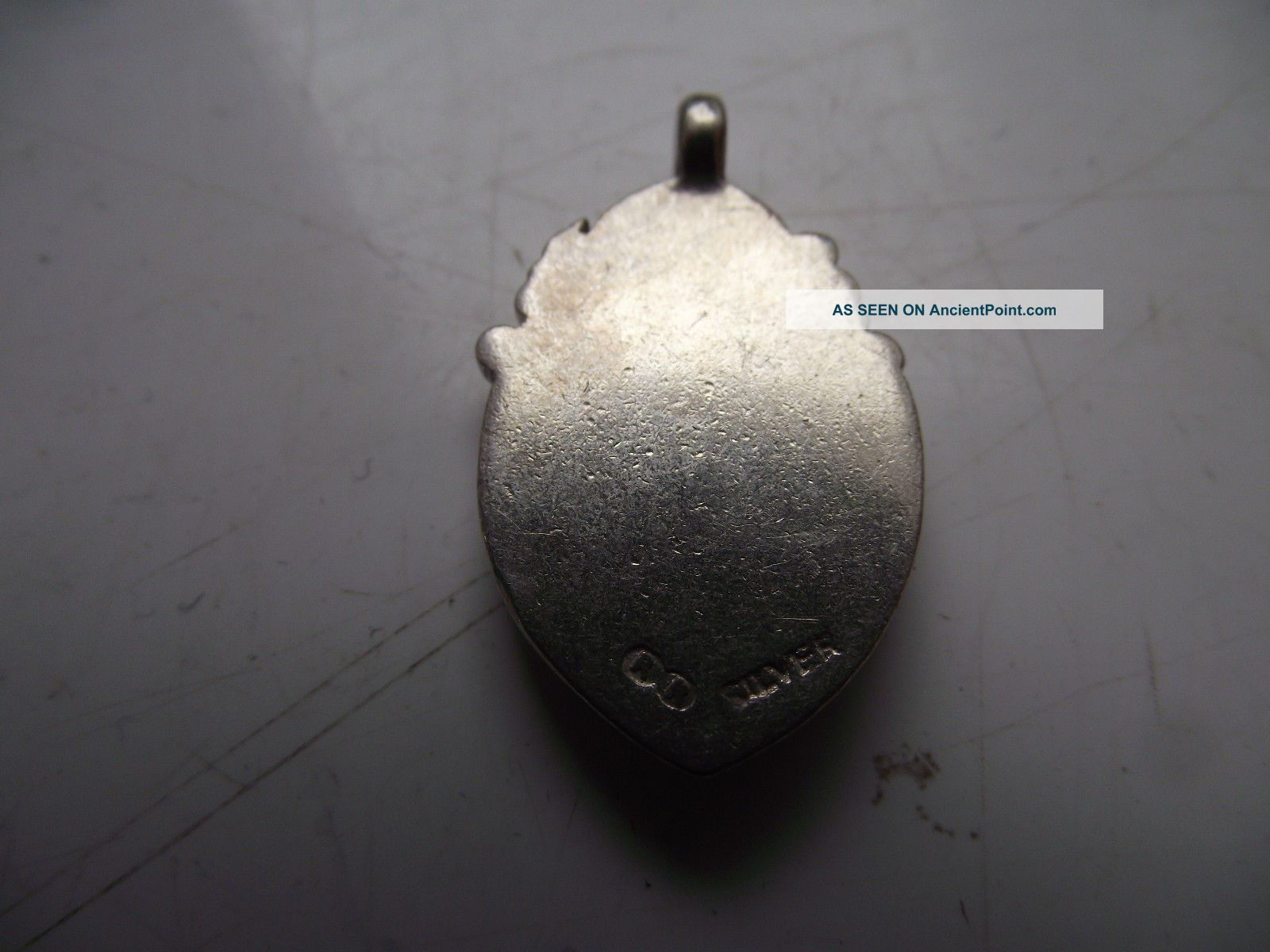 Antique Silver Marked Pocket Watch Chain Fob Medal Blank Cross & Heart Design Pocket Watches/ Chains/ Fobs photo