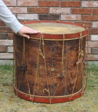 Large Antique Abner Stevens Military Drum,  Brass Tacks,  War Of 1812 Period,  Nr photo