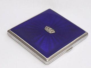 Vintage Art Deco Hm Solid Silver Sterling Enamel Navy Cigarette Case B/ham 1938 photo