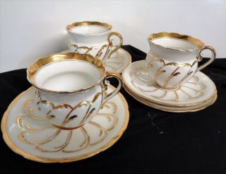 C.  M.  Hulschenreuther 3 Demitasse Cups With 4 Demitass Saucers,  Germany photo