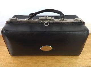 Vintage Black Leather Doctor Medical Bag.  Year 1930's photo
