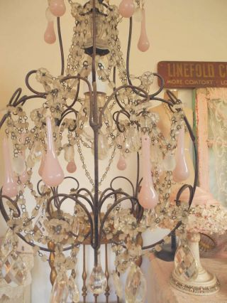 Fab Vintage Macaroni Beaded Chandelier Swags,  Dripping Crystals,  Pink Prisms photo