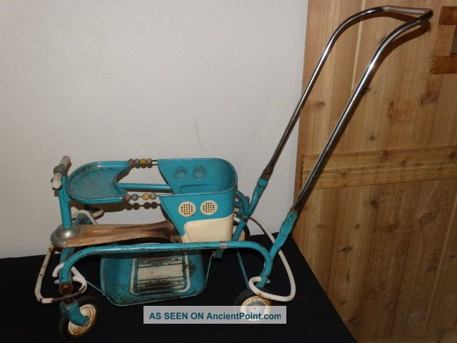 Vintage Antique 1940 ' S Blue Murray Tot Stroller W/ Fenders Complete Setup Nr Baby Carriages & Buggies photo