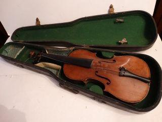 Antique Stradivarius Violin W/wood Coffin Case As Found 1723 photo