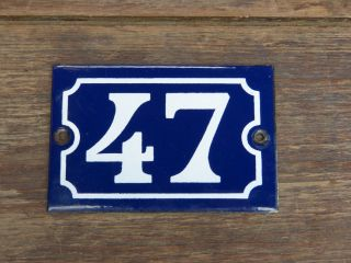 House Number Enamel French Blue 47 Old Antique Vintage Home Hardware Sign Plaque photo