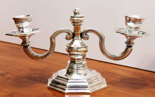 Magnificent Christofle Gallia Silver - Plated Candelabra Candle - Stick 2 - Arm photo