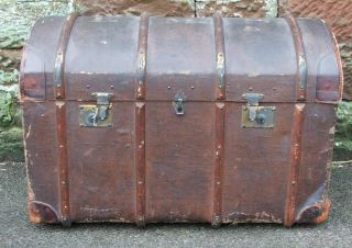 Large Steamer Trunk Suitcase Chest Decorative Vintage Dome Topped Wood Ribbed photo
