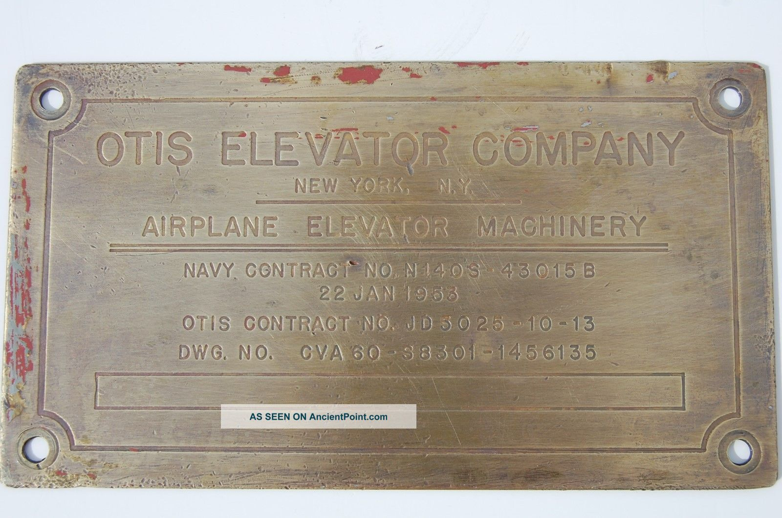 Aircraft Carrier Plaque Airplane Elevator Machinery Otis Navy 1953 No Reserv Plaques & Signs photo