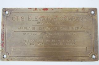 Aircraft Carrier Plaque Airplane Elevator Machinery Otis Navy 1953 No Reserv photo