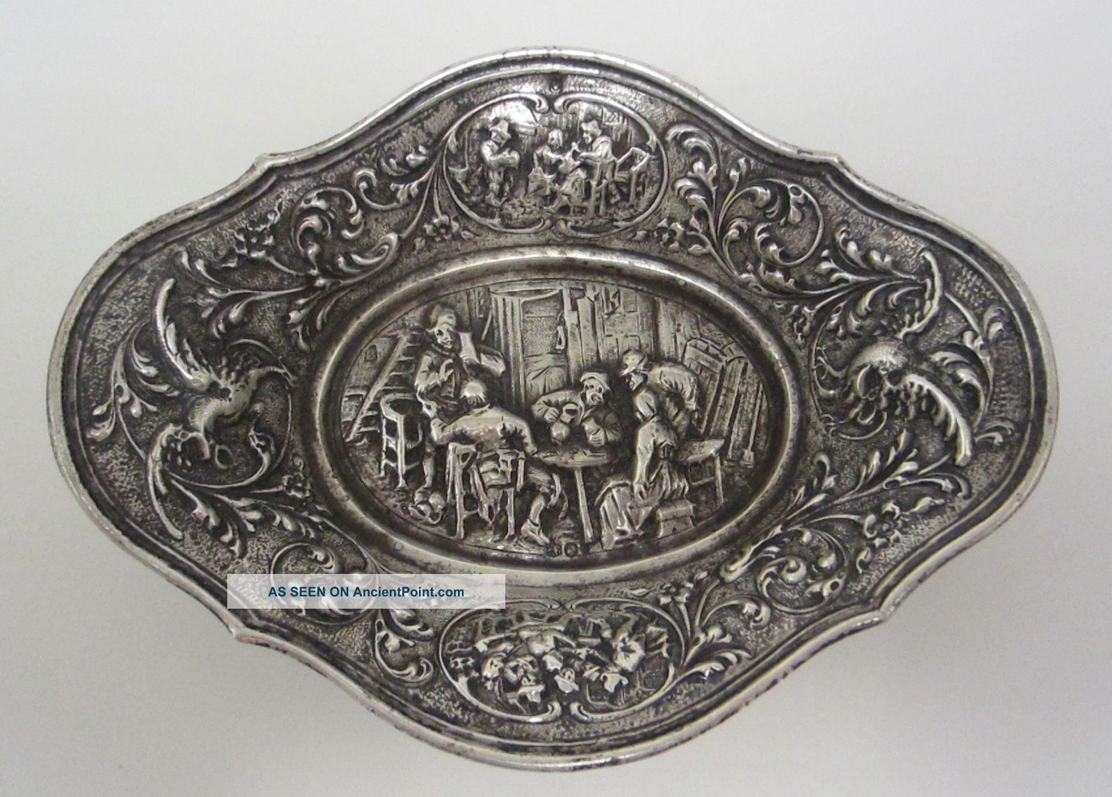Antique 1837 Dutch Repoussé Silver Dish Other Antique Non-U.S. Silver photo