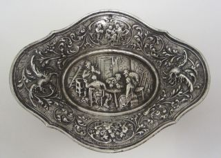 Antique 1837 Dutch Repoussé Silver Dish photo
