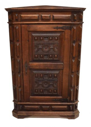 Antique Carved Spanish Renaissance Revival Corner Cabinet photo