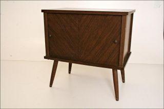 Mid Century Record Cabinet Danish Modern Vtg Wood Table Stand Lp Storage Mod 60s photo
