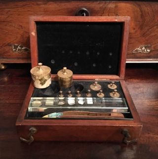 Rare Antique Becker Hatton Wall London Boxed Jewellers And Apothecary Weights photo