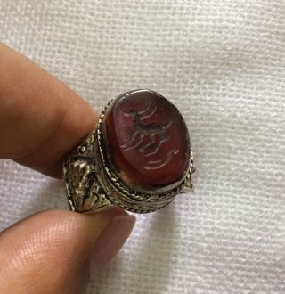 Men Islamic Agate Ring Vintage Afghan Seal Deer Engraved Calligraphy 9.  5 Us photo