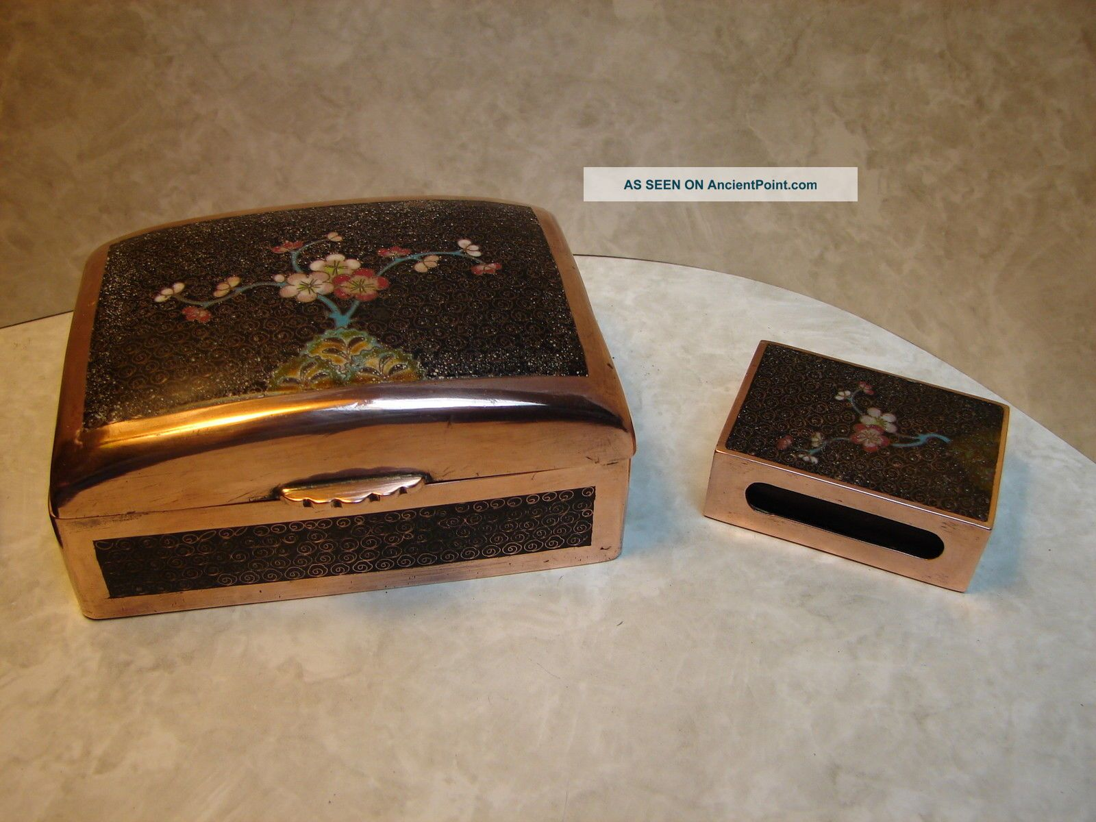 Antique Chinese Copper & Cloisonne Matching Cigarette Caae & Matchbox Holder Boxes photo