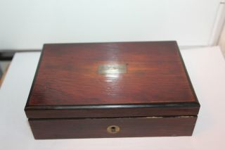 Antique Rosewood Veneered Faber Engineers Instrument Box With Ebony Edging photo