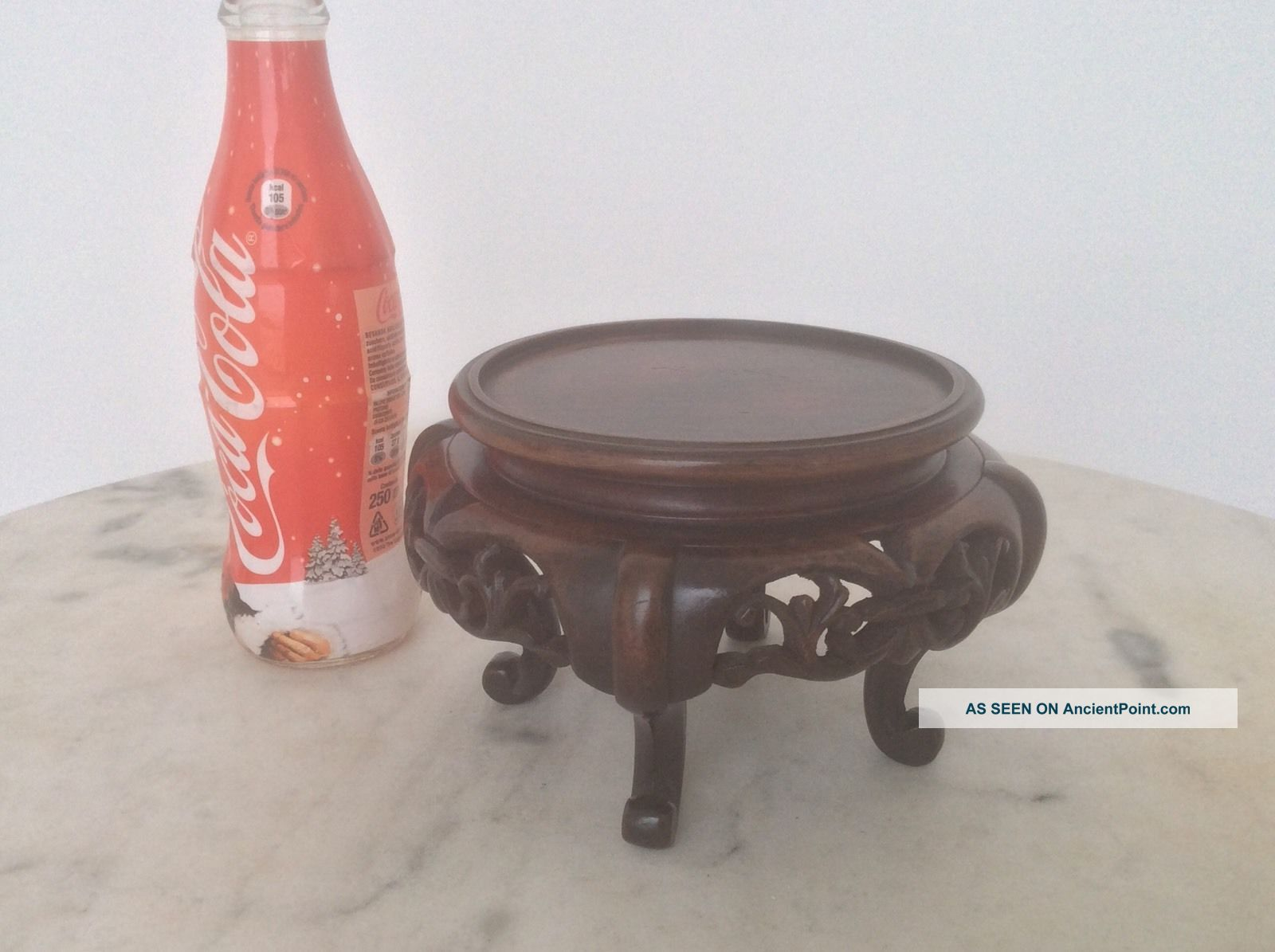 Antique Chinese Carved Hardwood Stand Woodenware photo