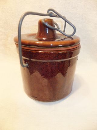 Stoneware Pottery Cheese Crock With Wire Bail Locking Lid Dark Brown photo