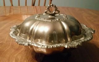 L B Small Silver Plated Footed Covered Bowl photo
