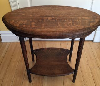Antique Tiger Oak Oval One Shelf Table W/spndle Type Legs photo