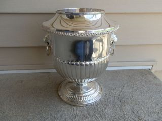 Vintage Israel Freeman Sheffield Silverplate Hand Chased Wine Cooler Lion Ring photo