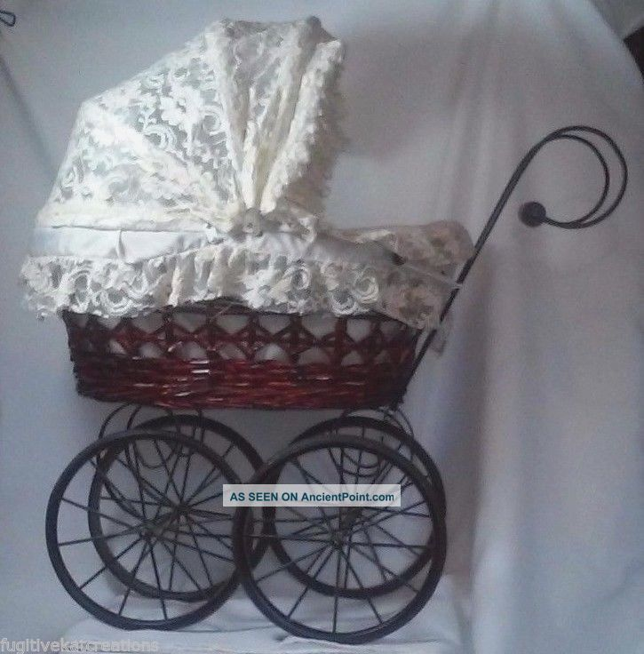 Vintage Big Victorian Ornate Wicker Baby Doll Stroller Carriage Buggy Doll Pram Baby Carriages & Buggies photo