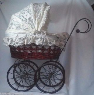 Vintage Big Victorian Ornate Wicker Baby Doll Stroller Carriage Buggy Doll Pram photo