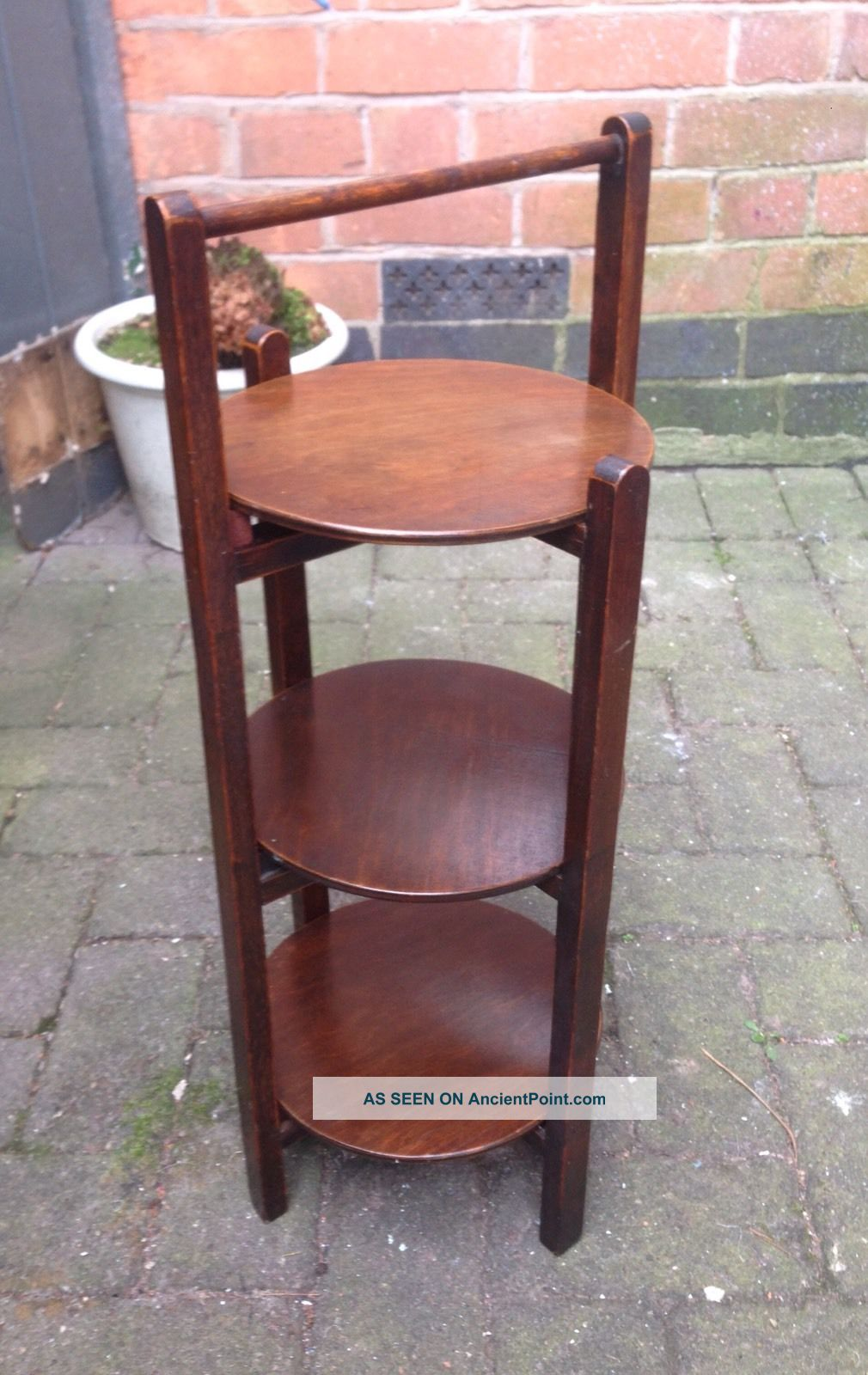 Vintage 1940 ' S 3 Tier Oak Cake Stand / Plate Rack. Stands photo