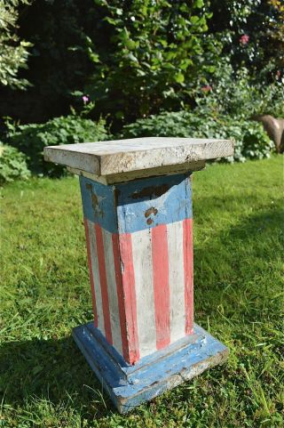 Antique Style American Stars And Stripes Wooden Plinth Stand Usa Flag Display 6 photo