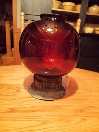 Rare Maine Antique Maritime Ship ' S Signal Lantern Red Glass Globe photo