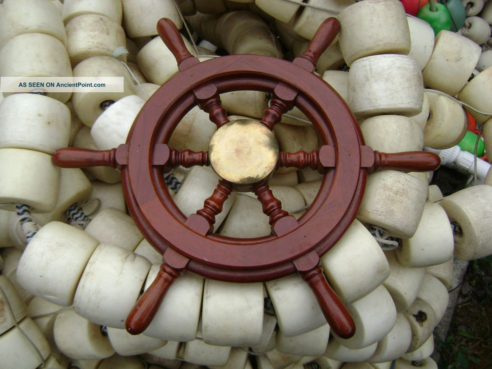 Authentic 20 Inch Wood & Chrome Steel Boat Ships Wheel Sailboat Decor Wheels photo