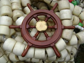 Authentic 20 Inch Wood & Chrome Steel Boat Ships Wheel Sailboat Decor photo