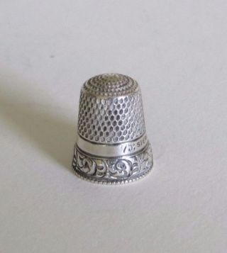 Antique Sterling Silver Stern Bros.  Two - Band Thimble With Beaded Rim Roses C1890 photo