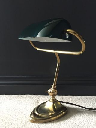 1930 ' S English Antique Vintage Bankers Desk Lamp Industrial Brass Green Glass photo