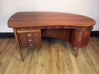Vintage Danish Teak Writing Desk 1950 - 60s photo