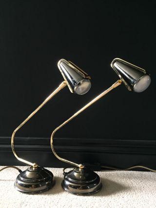 2 Pair Industrial Retro Vintage Swan Neck Brass & Black Desk Bedside Lamp photo