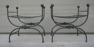 Pair Hollywood Regency Wrought Iron Benches Klismos Stools Umanoff Salterini photo
