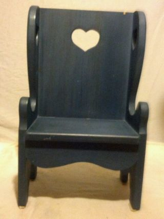 Vintage Hand Made Solid Wood Small Wing Back Child Toddler Doll Chair 19