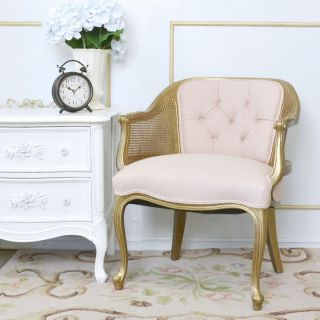 Shabby Cottage Chic Tufted Pink Linen Cane Banquette Chair Gold Home Furniture photo