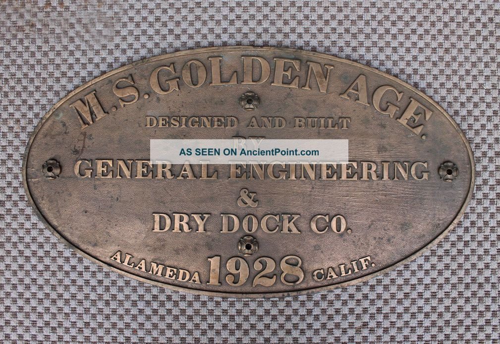 Antique Alameda San Francisco Bronze Shipyard Ship Builder Hull Id Plate Sign Plaques & Signs photo