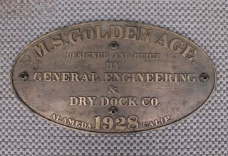Antique Alameda San Francisco Bronze Shipyard Ship Builder Hull Id Plate Sign photo