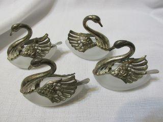 4 Vintage Ornate Silverplate & Glass Open Swan Salt Cellars W/spoons Japan photo