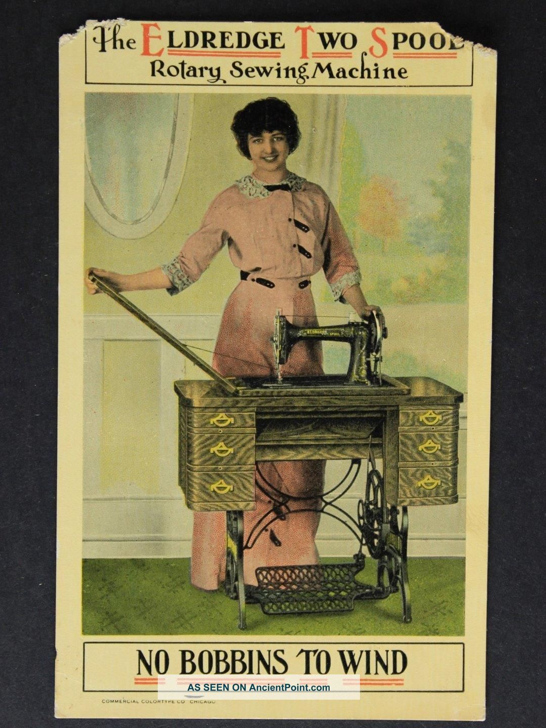 1910s Eldredge Sewing Machine Advertising Postcard Other Antique Sewing photo