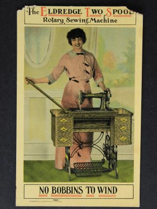 1910s Eldredge Sewing Machine Advertising Postcard photo
