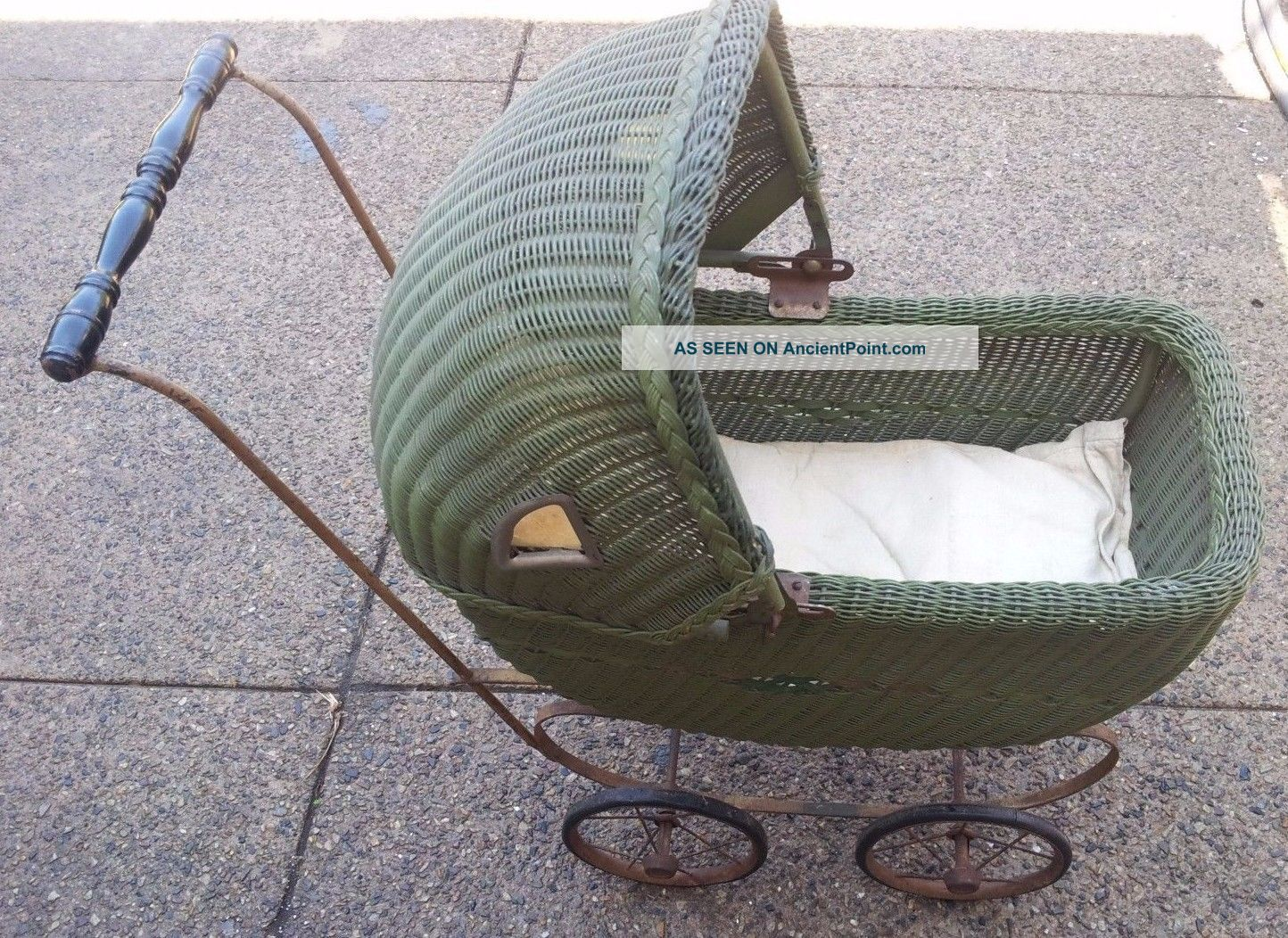Antique Heywood Wakefield Wicker Baby Doll Buggy Stroller Metal Frame Pre 1930 Baby Carriages & Buggies photo