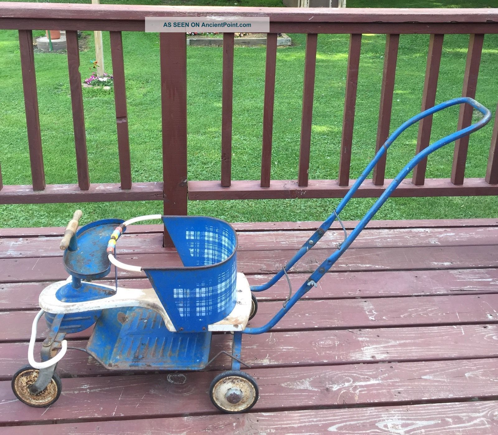 Vintage Taylor Tot 1950s Blue White Baby Stroller Walker Baby Carriages & Buggies photo