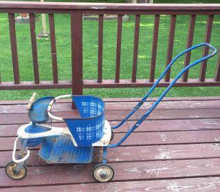Vintage Taylor Tot 1950s Blue White Baby Stroller Walker photo